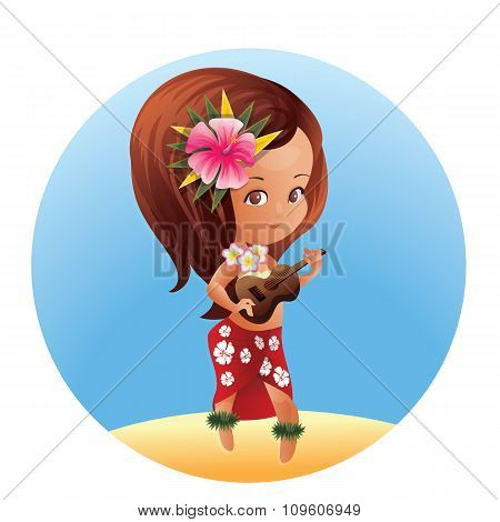 Luau Ukulele Hawaiian cartoon girl