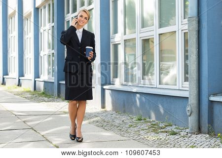 Businesswoman Using Mobile Phone During Lunch Break