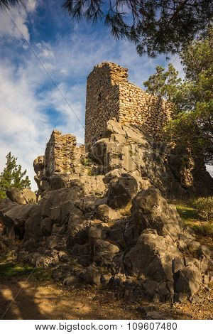 Ruins Of An Old Castle On The Hill