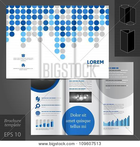 Brochure Template Design With Blue Elements