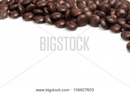 Top Right Frame Of Brown Chocolate Candy On White Background