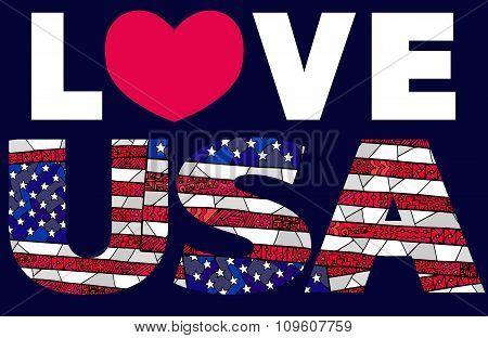 United States Flag Zentangle Love Usa 1