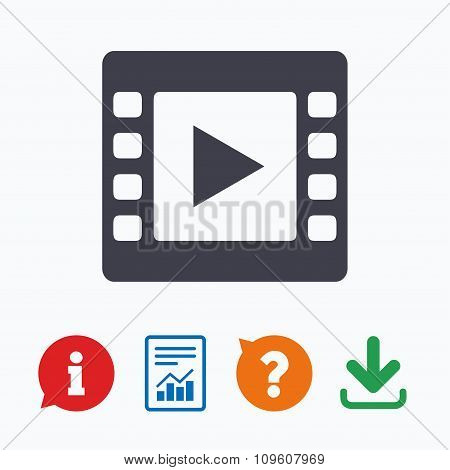 Video sign icon. Movie frame symbol.