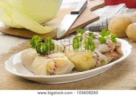 Stuffed Cabbage Filled With Minced Meat And Rice On Plate