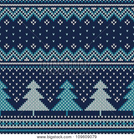Winter Holiday Seamless Knitted Pattern. Fair Isle Sweater Design