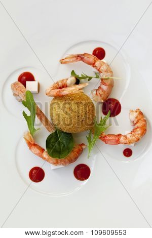 Shrimp And Rice On A Plate