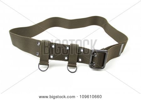 Green military belt isolated on a white background