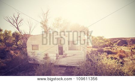 Vintage Stylized Picture Of Old Trailers, Usa Countryside