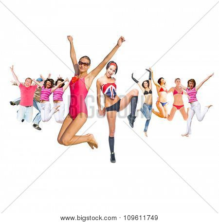 People Celebrating Jumping Together