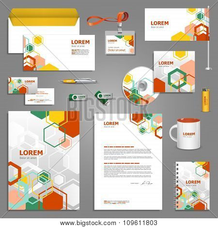 Template Design With Color Geometric Elements