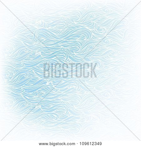 Wavy hand-drawn white pattern on blue background