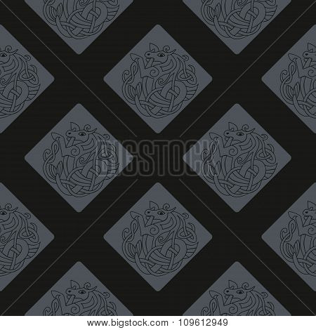 Seamless background with Celtic art and ethnic ornaments