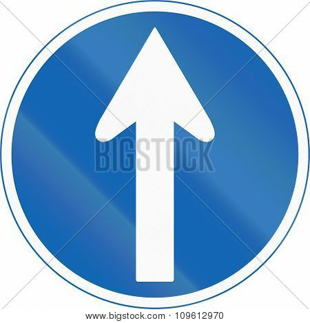 Japanese Road Sign - Mandatory Direction To Be Followed