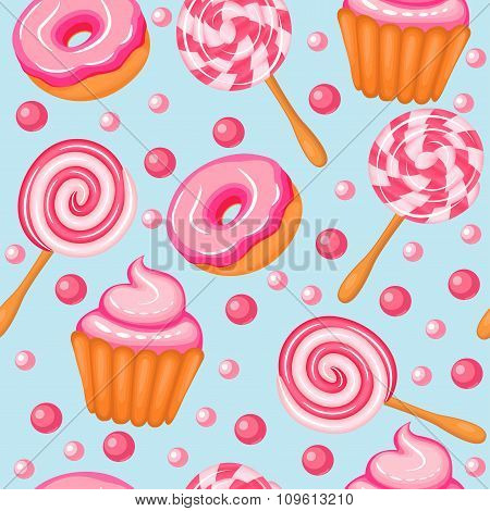 illustration background seamless sweet donuts candy cupcakes