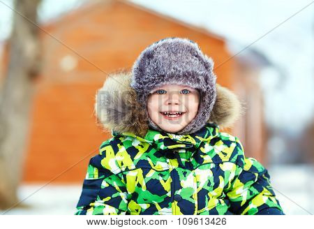 little boy in the winter. child outdoors