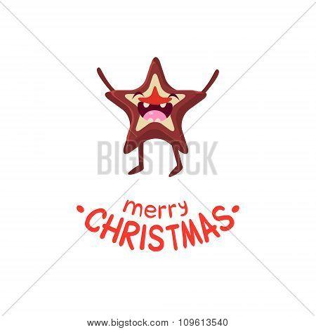 Cookies star Vector Cheerful Christmas card