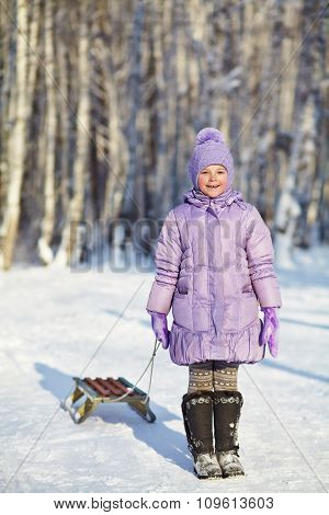 little girl in the winter. child outdoors