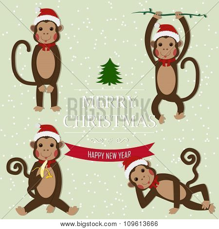 Set of Chinese Zodiac - Monkeys. Vector illustration.