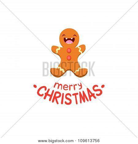 Ginger man Vector Cheerful Christmas card