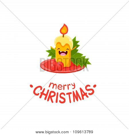 Candle Vector Cheerful Christmas card