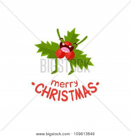 Leaves of mistletoe Vector Cheerful Christmas card