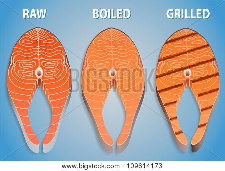 Salmon Steak Set Isolated