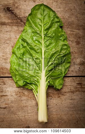 Cos lettuce on wooden bench