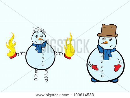 Two snowman and fire