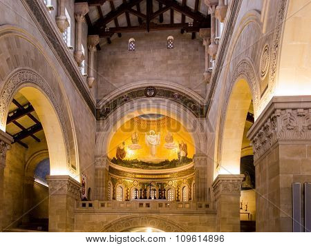 Mount Tabor, Israel July 10, 2015: Interior And Mosaics On The Wall Of The Church Of The Transfigura