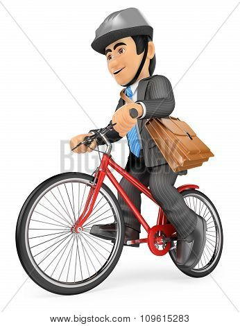 3D Businessman Going To Work By Bike