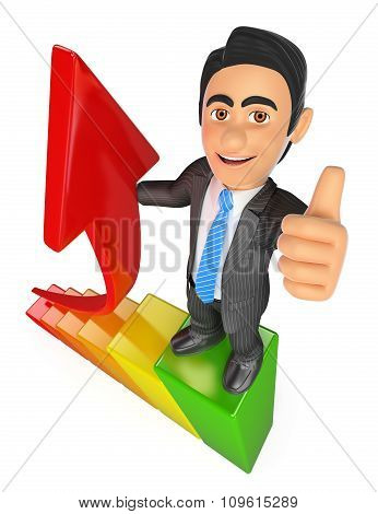 3D Businessman In The Top Of A Bar Graph. Growth Metaphor