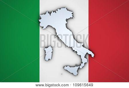 Italy Map On Italian Flag Background