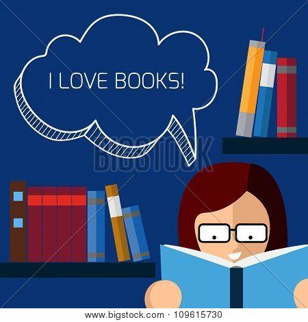 Placard I Love Books.
