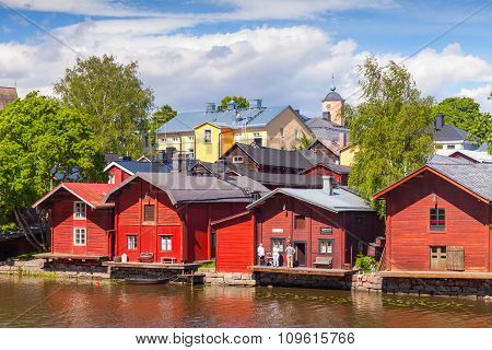 Old Red Wooden Houses In Small Finnish Town