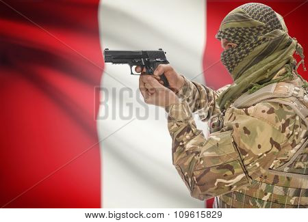 Male In Muslim Keffiyeh With Gun In Hand And National Flag On Background - Peru