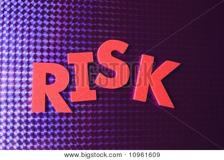 Risk Word On Blue Neon Background