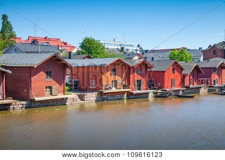 Old Red Houses On The River Coast In Porvoo