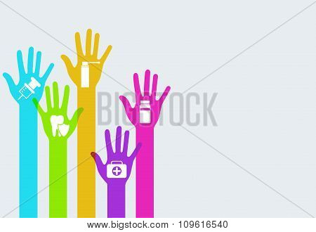 Vector modern colorful hands medicine infographics