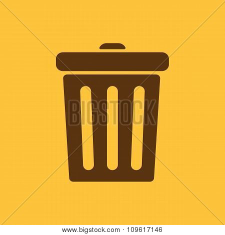 The trashcan icon. Dustbin symbol. Flat