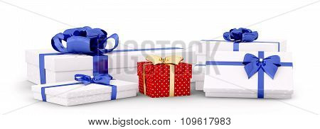 Gift Boxes, Presents Isolated 3D Rendering