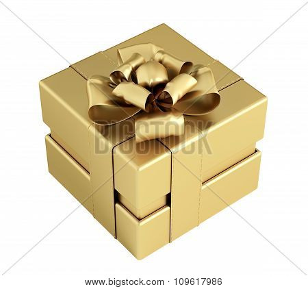 Golden Gift Box Isolated 3D Rendering
