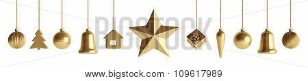 Golden Christmas Baubles Isolated 3D Rendering