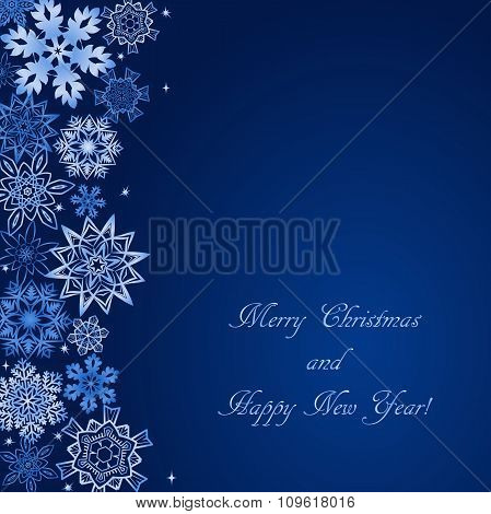 Christmas blue background with snowflakes at the side and with text