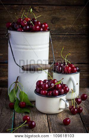Fresh Cherries In Enamel Kitchenware