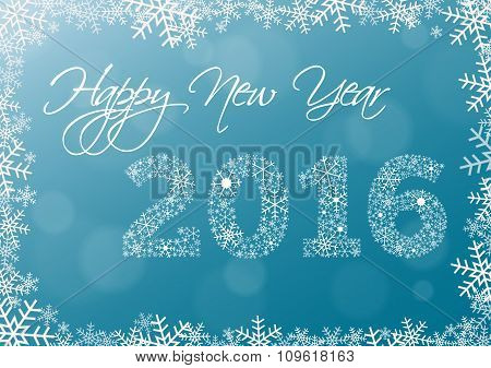 Happy New Year 2016 Card With Snowflake Frame And Year 2016 Made Of Snowflakes