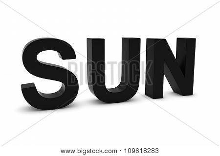Sun Black 3D Text - Sunday Abbreviation Isolated On White