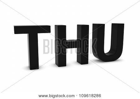 Thu Black 3D Text - Thursday Abbreviation Isolated On White