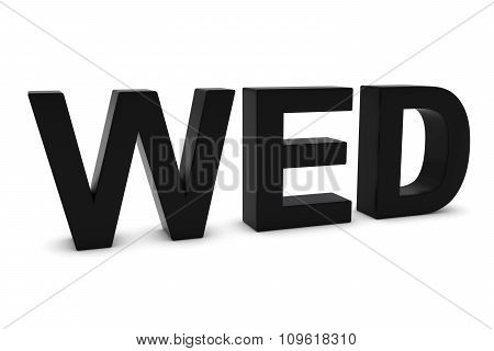Wed Black 3D Text - Wednesday Abbreviation Isolated On White