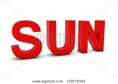 Sun Red 3D Text - Sunday Abbreviation Isolated On White