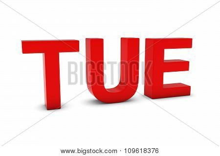 Tue Red 3D Text - Tuesday Abbreviation Isolated On White